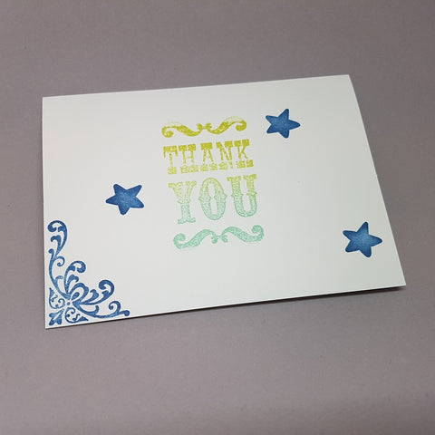 thank you card - stars and flourishes