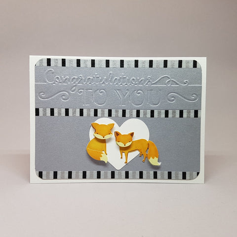 wedding card - congrats foxes