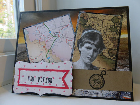 collage-style greeting card - Bon Voyage