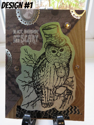 Halloween greeting card - steampunk owl
