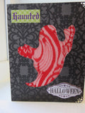Halloween greeting card - red lace ghost