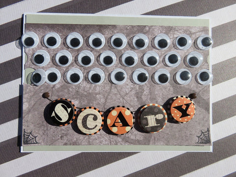 Halloween greeting card - scary googly eyes