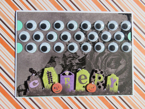 Halloween greeting card - creepy googly eyes