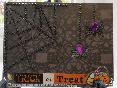 Halloween greeting card - rhinestone spiders