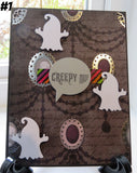 Halloween greeting card - spooky speech bubble ghost