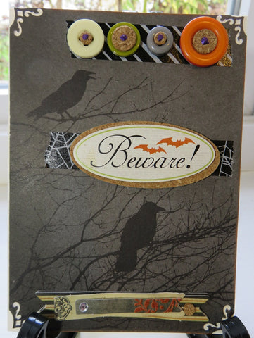 Halloween greeting card - beware ravens