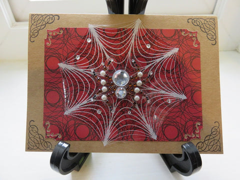 Halloween greeting card - spiders and lace (003)