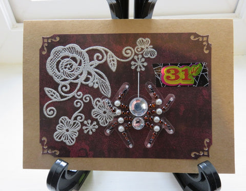 Halloween greeting card - spiders and lace (002)