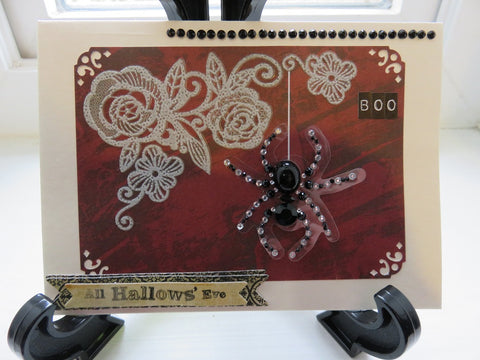 Halloween greeting card - spiders and lace (005)