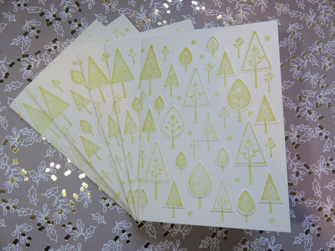 Christmas greeting card set - embossed trees