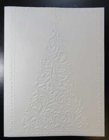 Christmas greeting card set - embossed Christmas tree