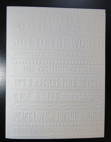 Christmas greeting card set - embossed words