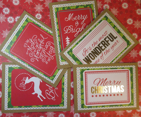Christmas greeting card set - kraft, red & green