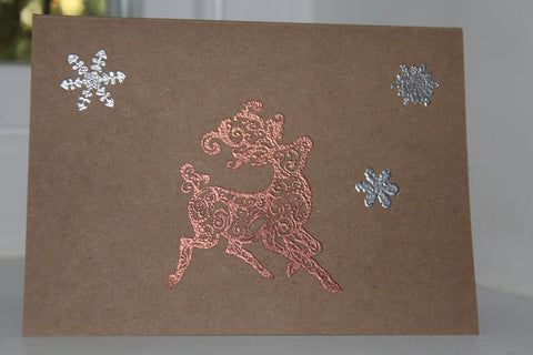 Christmas greeting card - embossed reindeer (single)