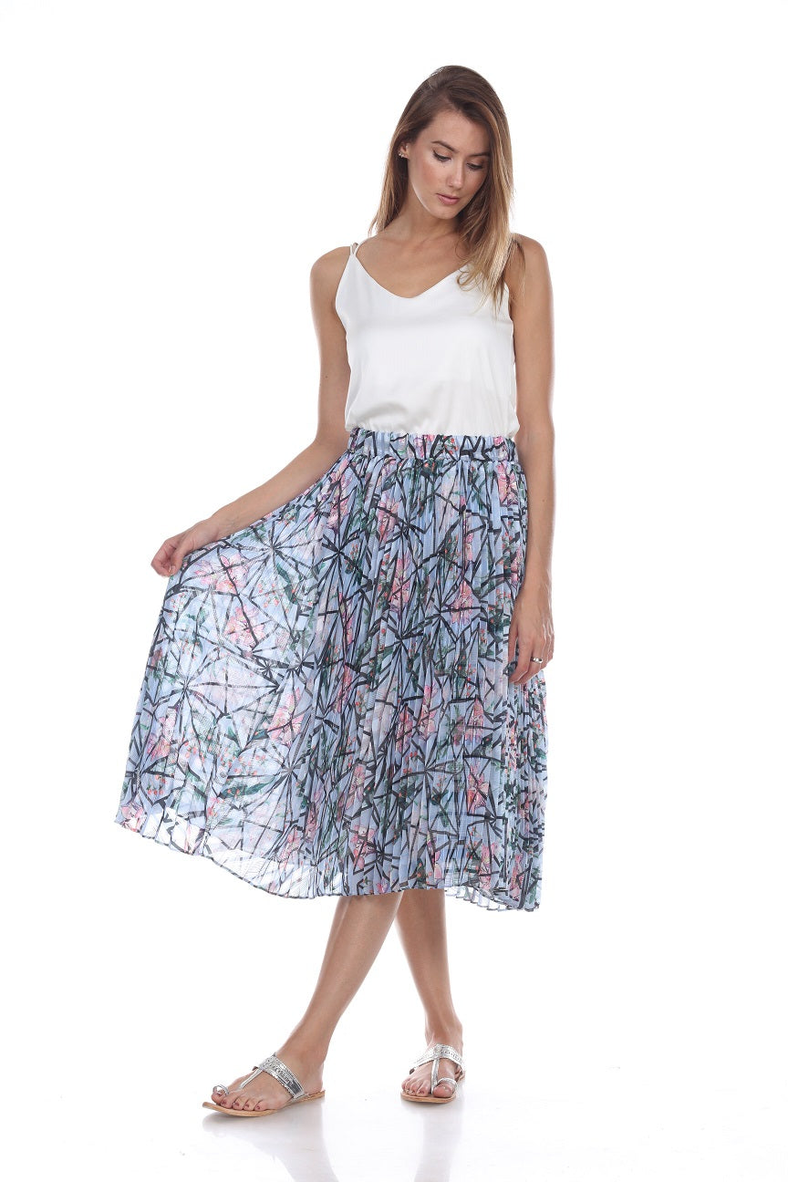 Printed Pleated Skirt