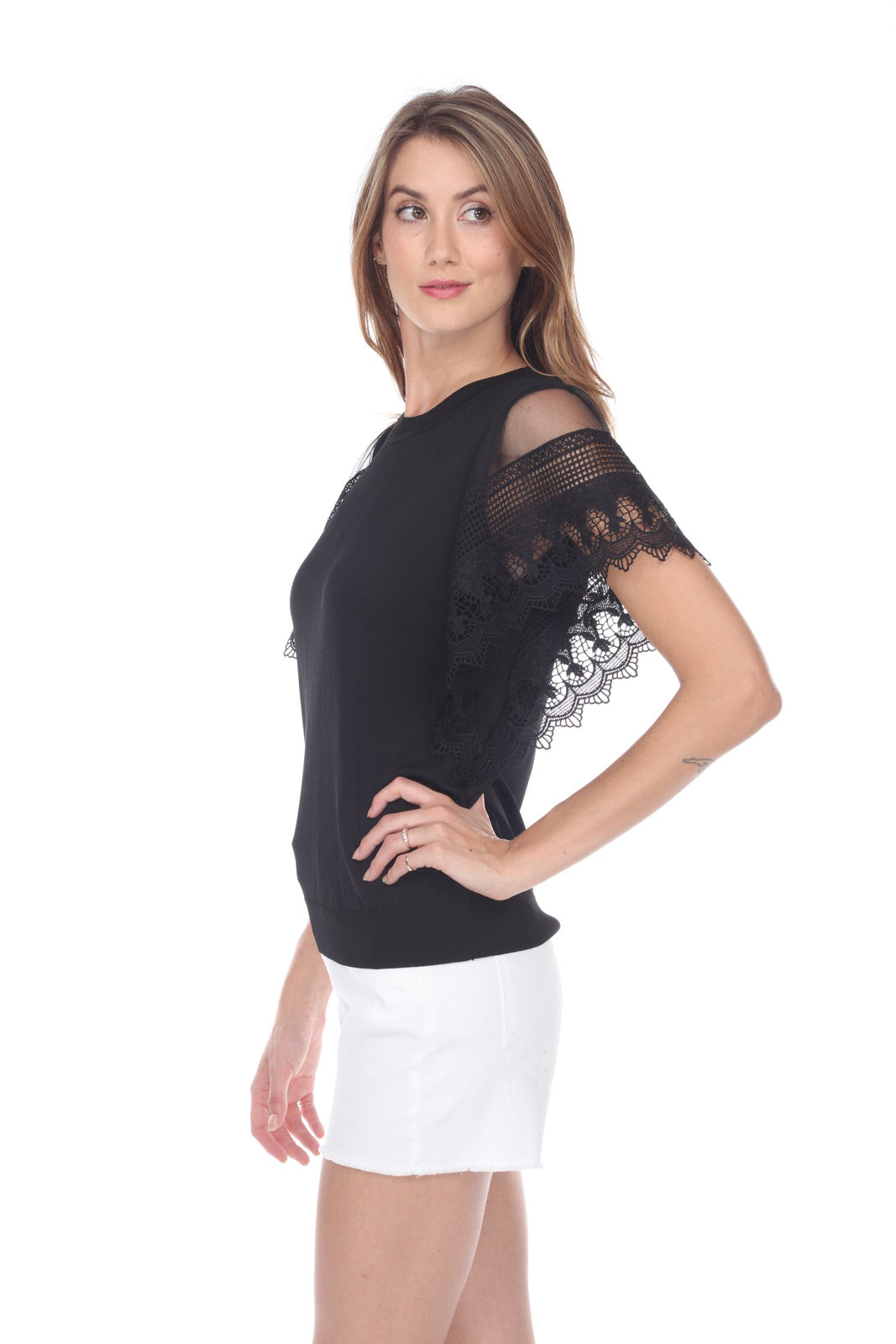 Jersey Top with Lace Sleeves