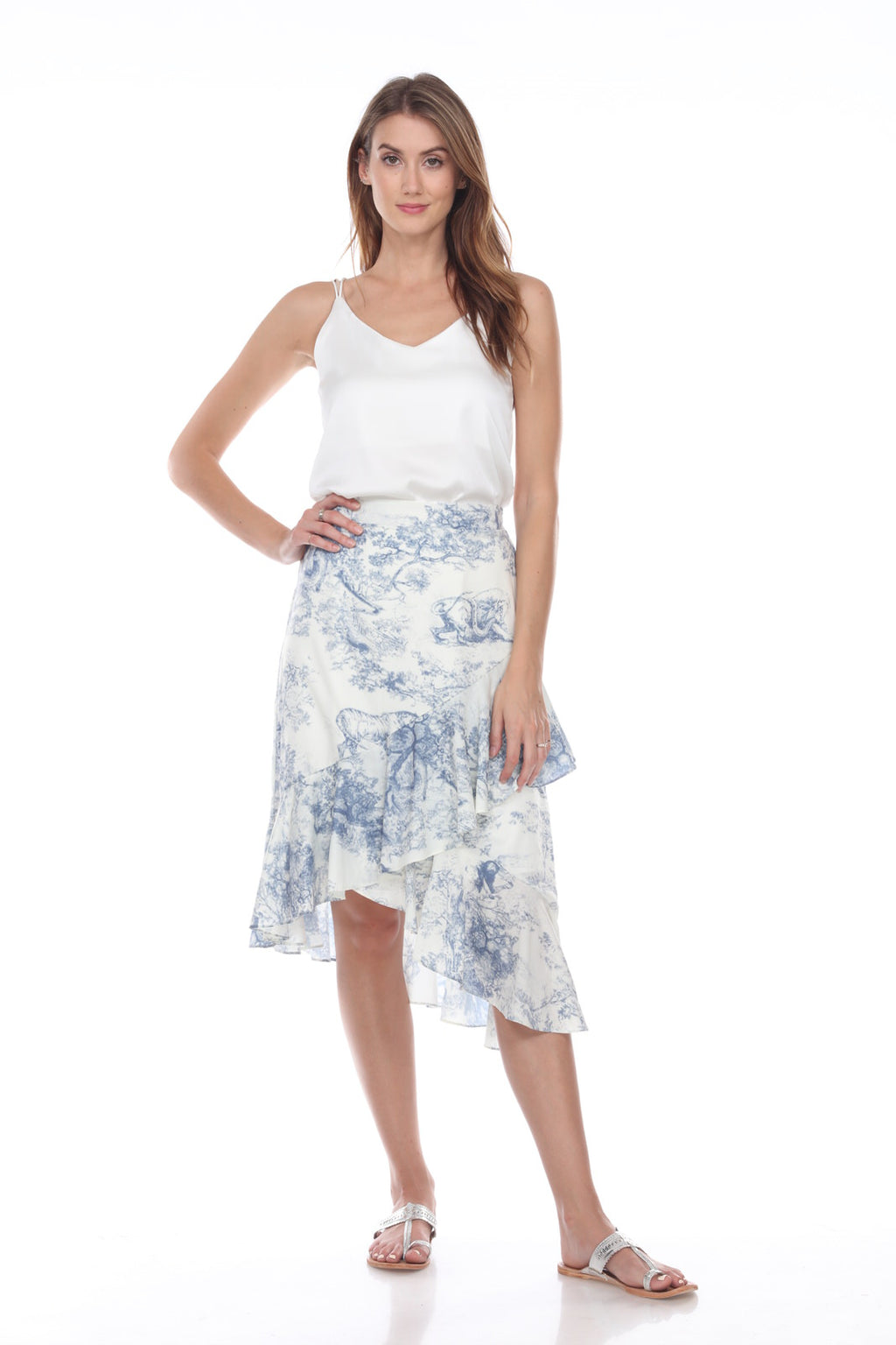 Blue Toile Ruffle Skirt