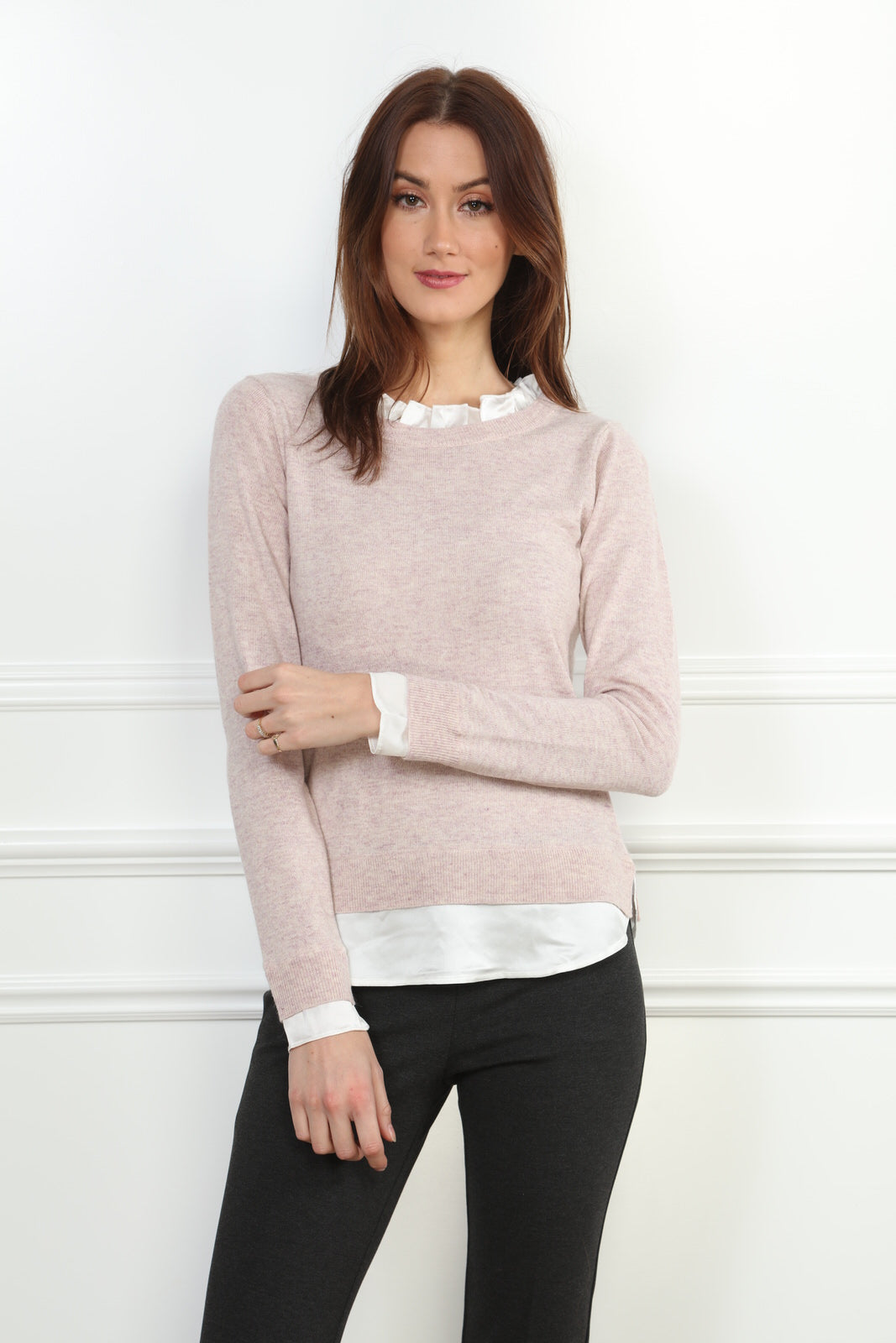 two-fer sweater with ruffle trim