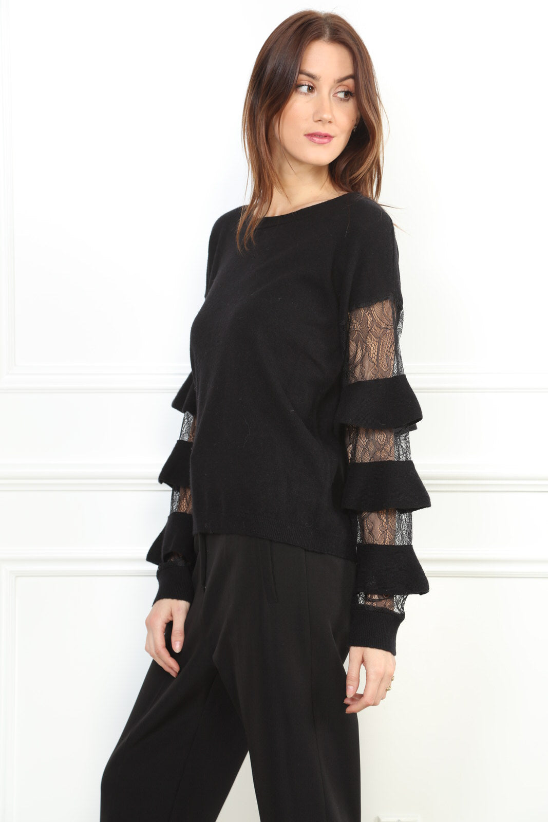 Lace bell sleeve sweater