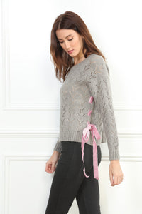 Pink Velour Trim Sweater