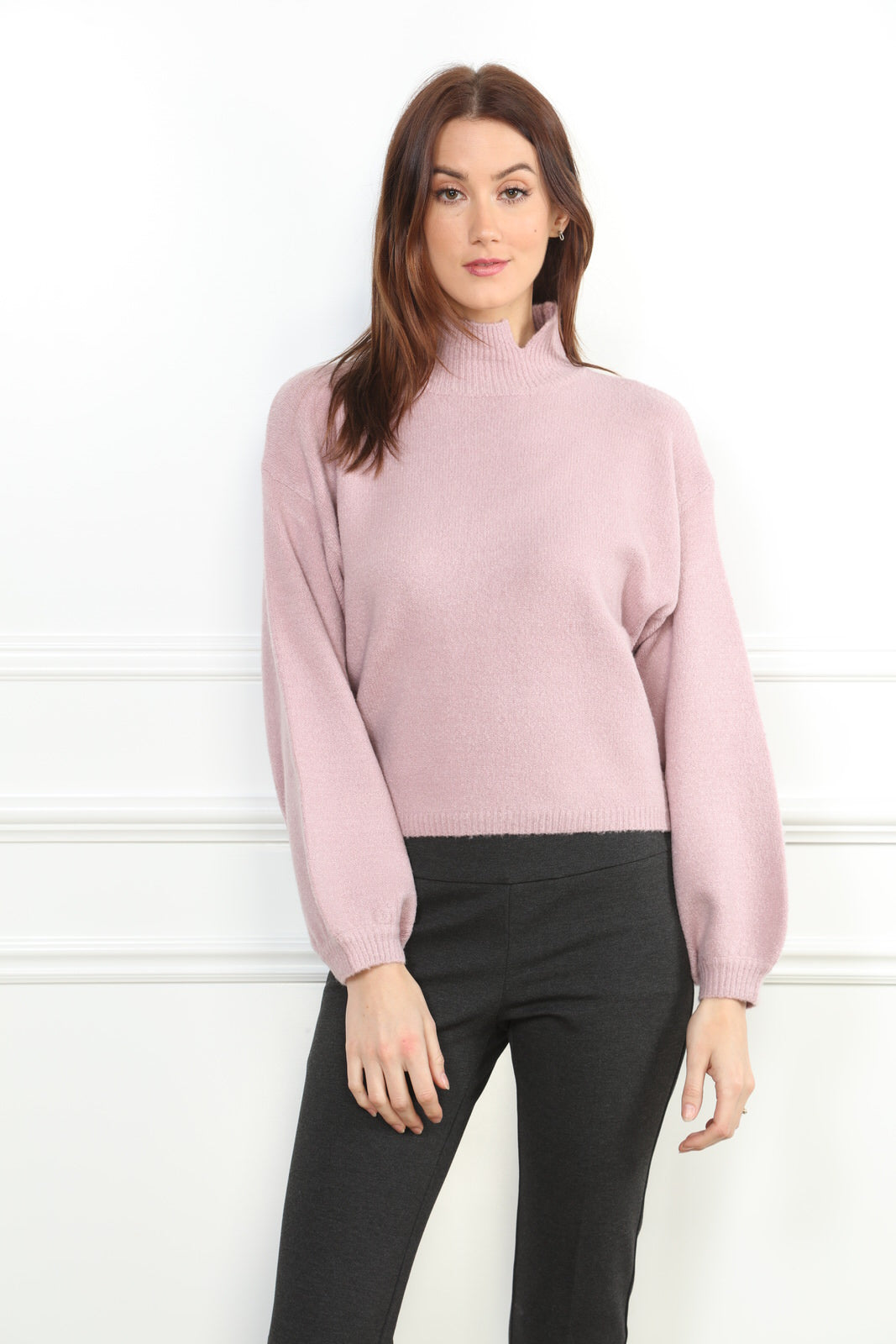 Puff Sleeve Mock Neck Sweater