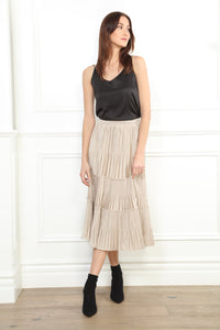 Velvet Pleat Skirt