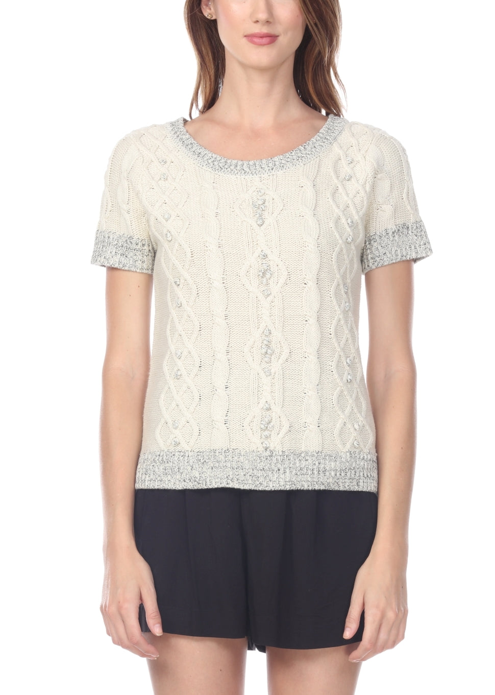 Short Sleeve Cable Sweater