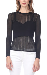 Knit Bra over Sheer Sweater Two-Piece