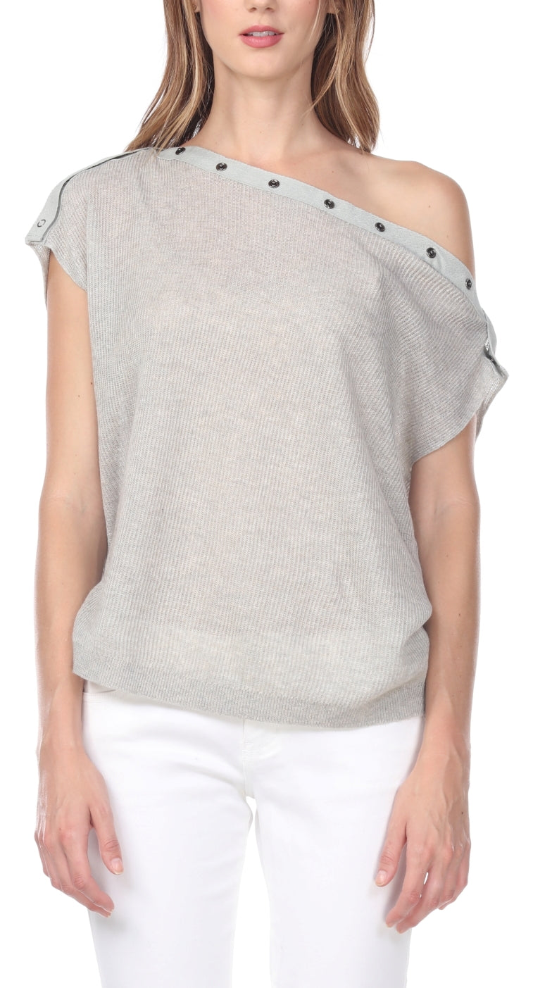 Linen Blend Off-Shoulder Clasp Sweater