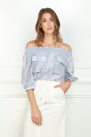 Off Shoulder Pocket Blouse