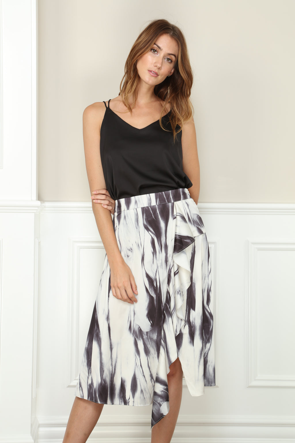 Marbled Ruffle Skirt