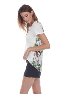 Floral Print Back Pleated Linen T-Shirt