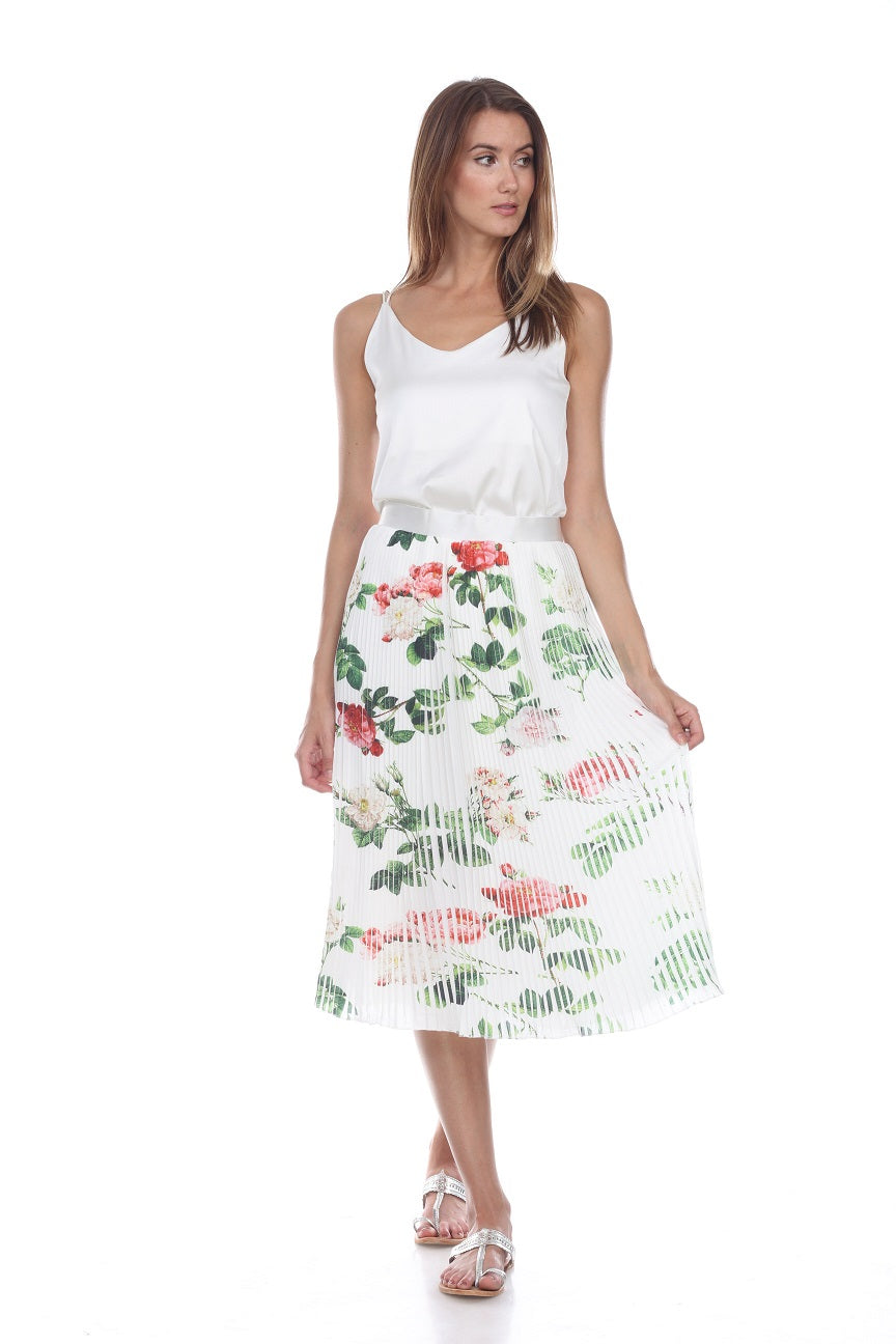 Ivory Floral Print Pleated Skirt