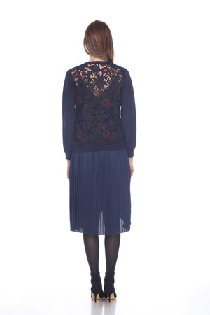 Lace Back Cardigan in Navy