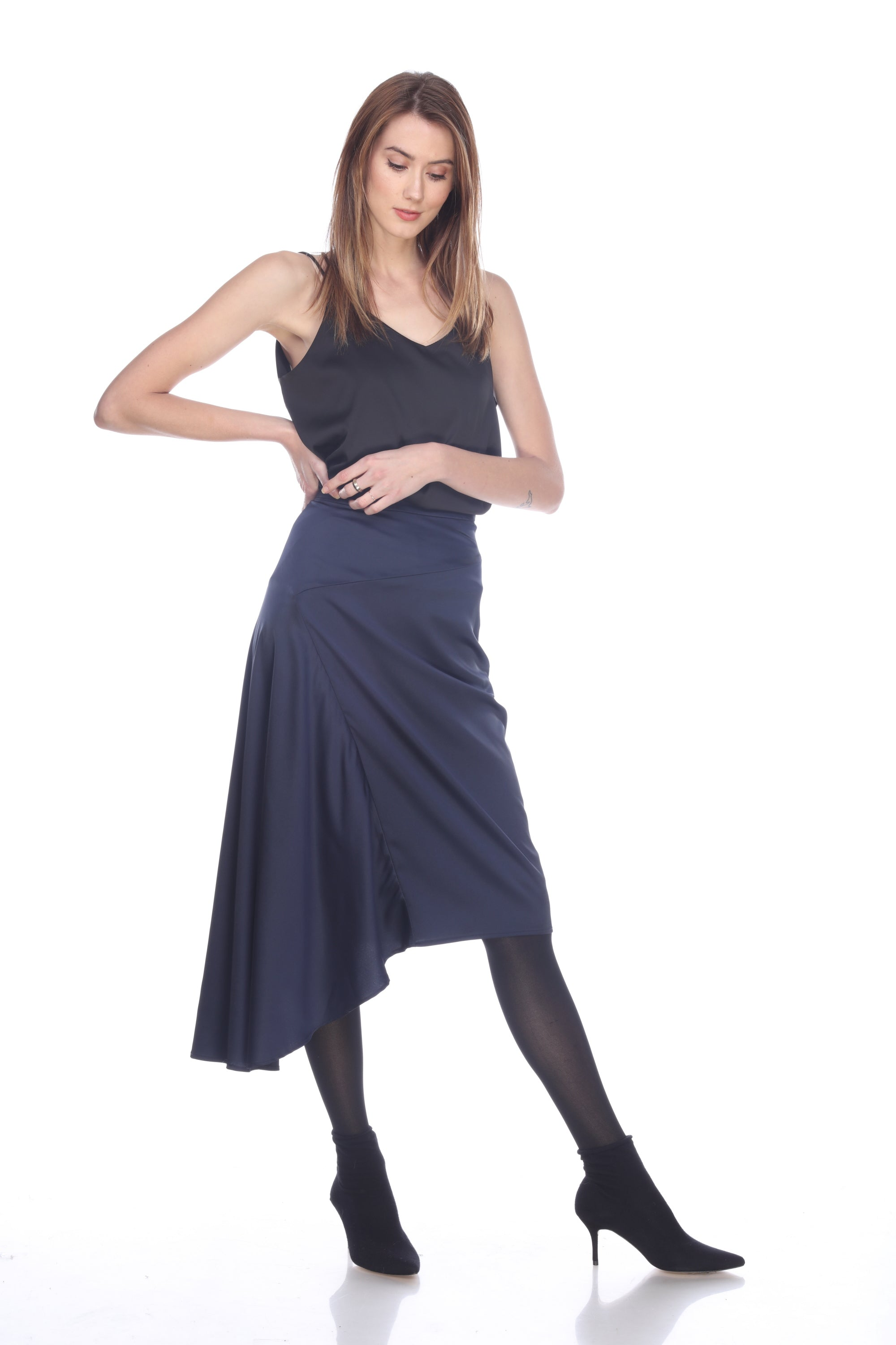 Stretch Satin Skirt in Navy
