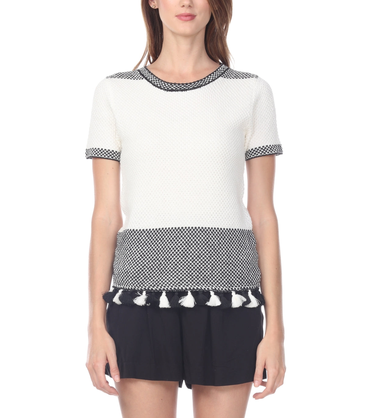 Tassle Short Sleeve Cable Sweater