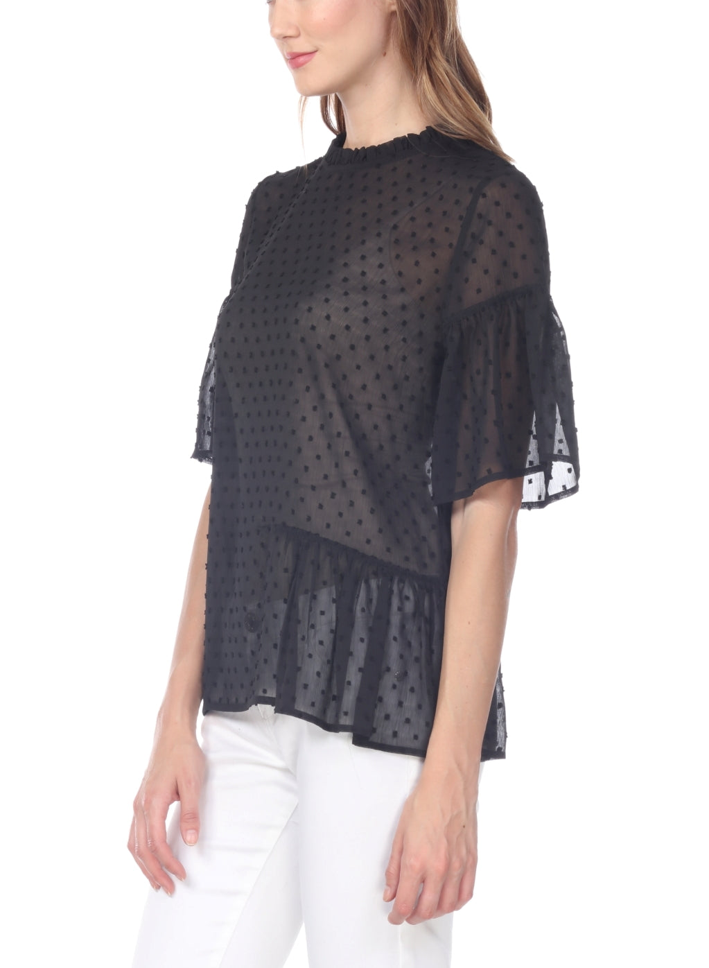 Swiss-Dot Sheer Blouse