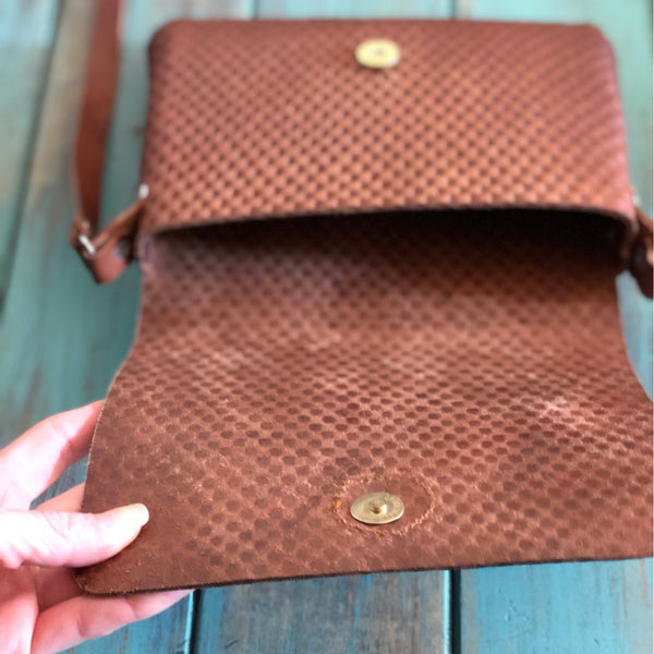 Leather Handbag Dimpled In