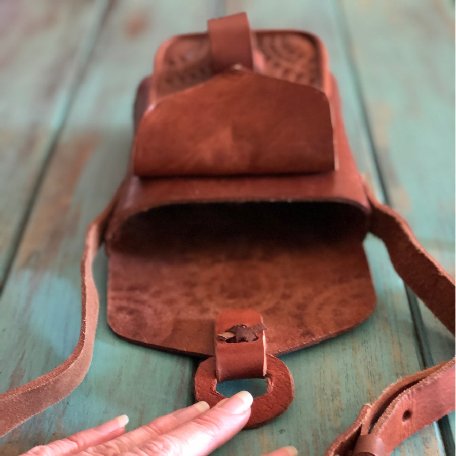 Leather Handbag Double Pocket
