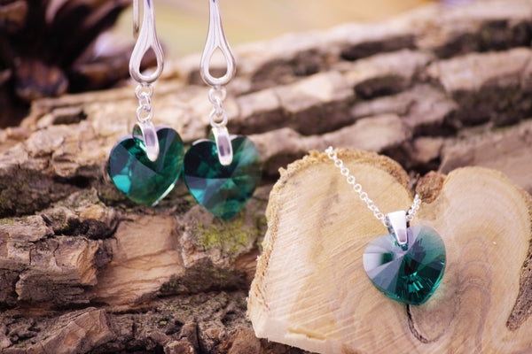 Emerald Swarovski Crystal / Xilion Heart Collection