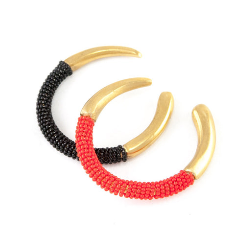 African bead and brass cuff bracelets - Luxe Lion
