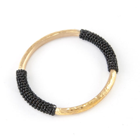 African black bead and brass bracelet - Luxe Lion