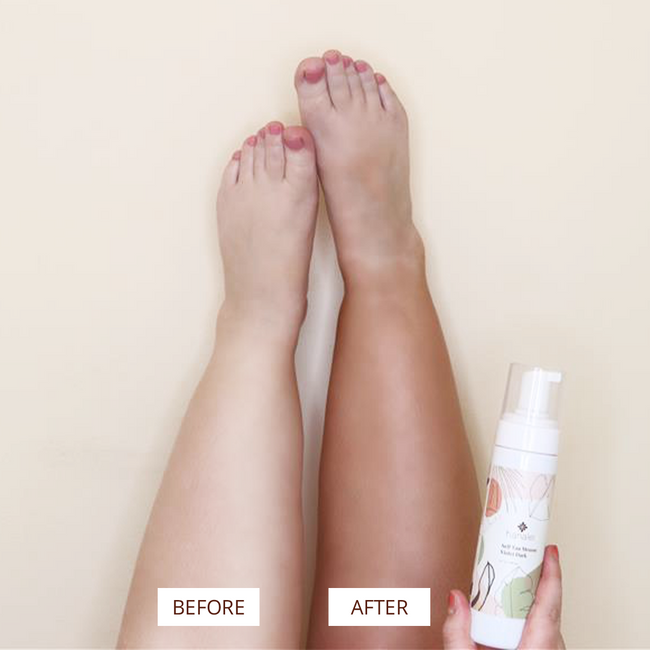 Hanalei Dark Self-Tanning Mousse Before & After Picture