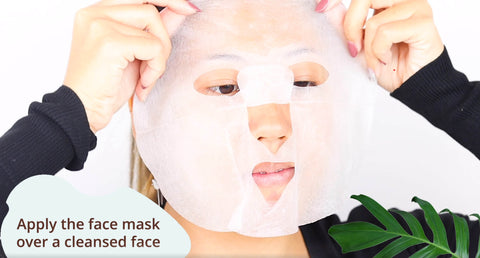 Apply Hanalei sheet face mask to a cleansed face
