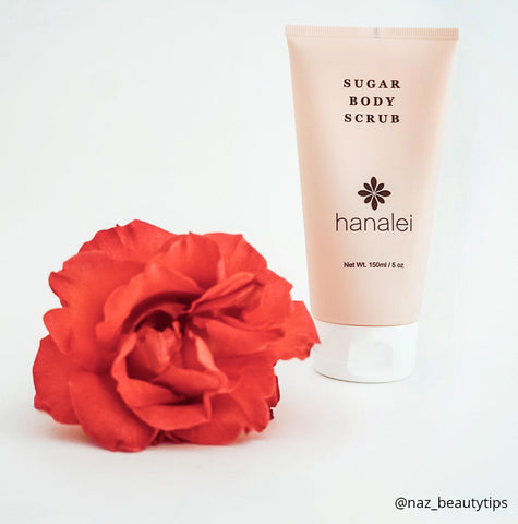 Hanalei Sugar Body Scrub can be used to exfoliate before self-tanner for an even application