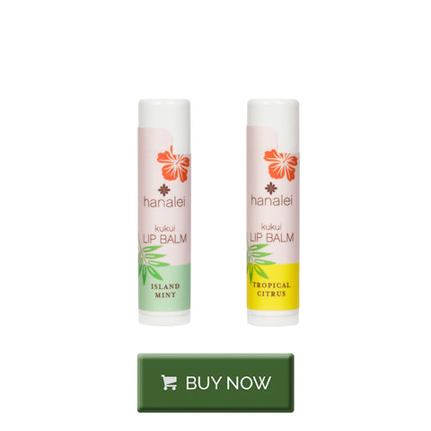 Cruelty-free lip balm with Kukui Oil in mint or citrus by Hanalei Company
