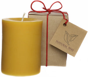 100% Pure Beeswax Candle 3 x 4'' ~60 hours