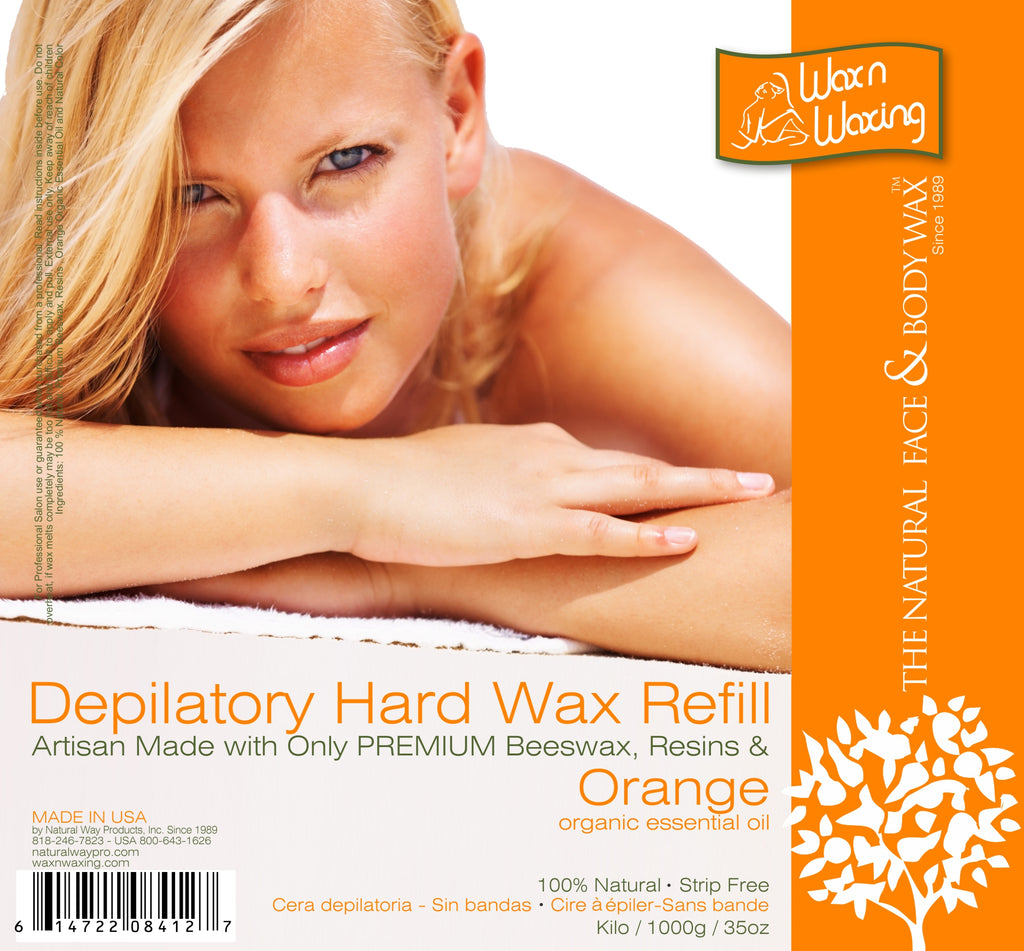 "Wax n Waxing Depilatory Hard Wax - Refill by Kilo ""Orange Essential Oil"" 35oz/1000g"