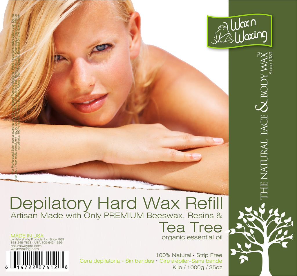 "Wax n Waxing Depilatory Hard Wax - Refill by Kilo ""Tea Tree Essential Oil"" 35oz/1000g"