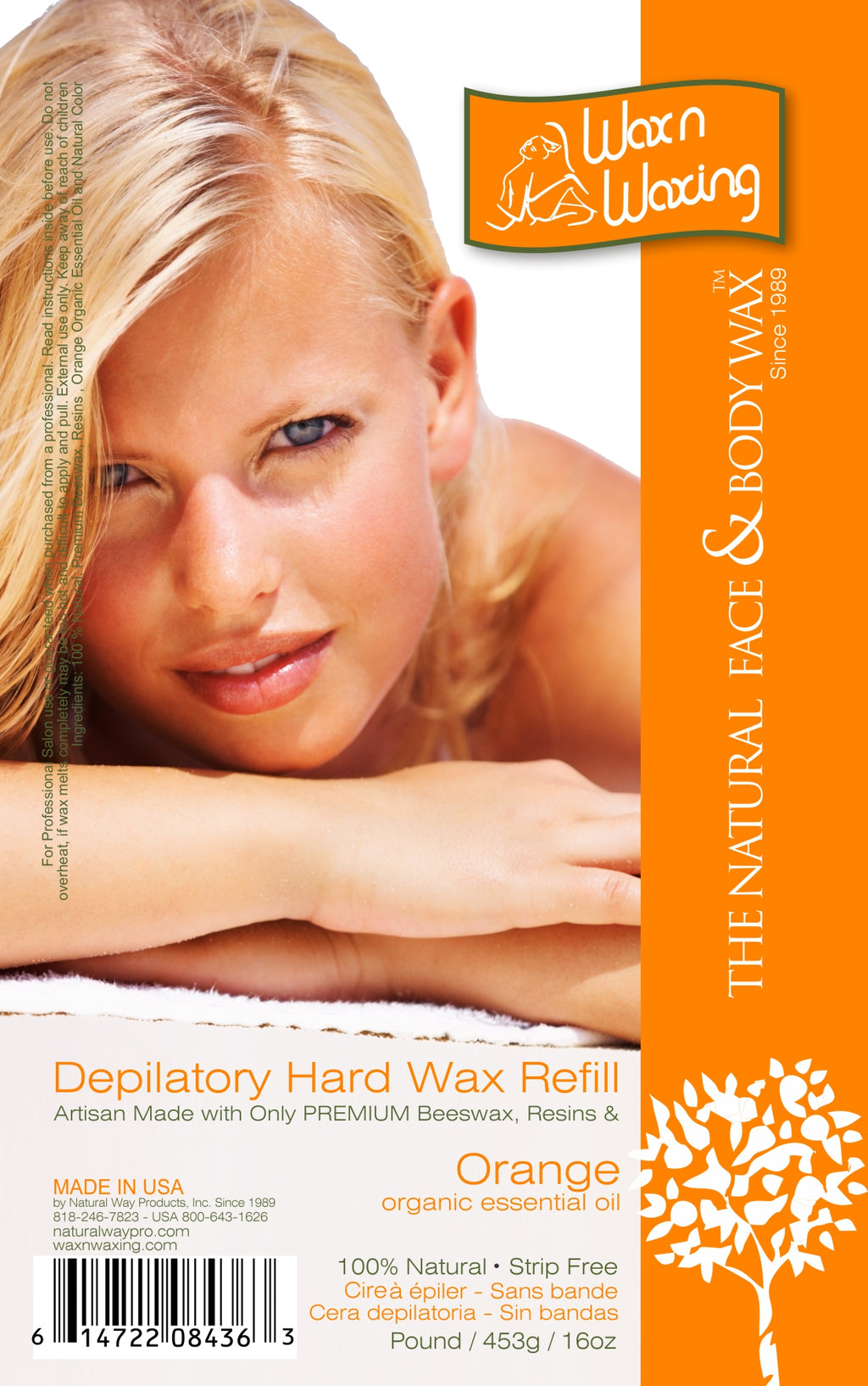 "Wax n Waxing Depilatory Hard Wax - Refill by Pound ""Orange Essential Oil"" 16oz/453g"